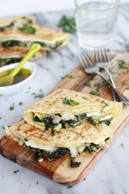 Spinach Artichoke and Brie Crepes with Sweet Honey Sauce - (Free Recipe below)