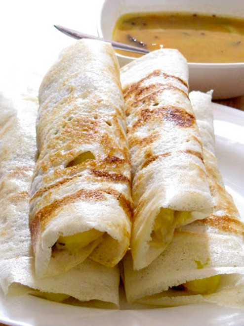 Crispy, Savory Rice Pancakes with Potato Filling Masala Dosa - (Free Recipe below)
