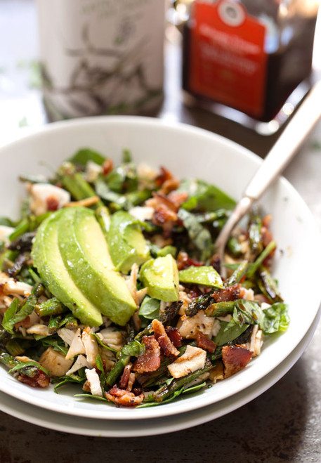 CHICKEN BACON AVOCADO SALAD WITH ROASTED ASPARAGUS - (Free Recipe below)