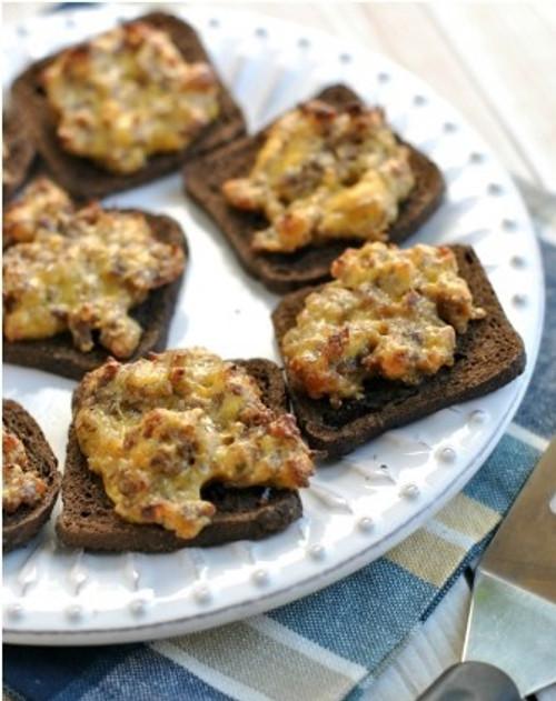 Pumpernickel Rye Sausage Cheese Toast Bites - (Free Recipe below)