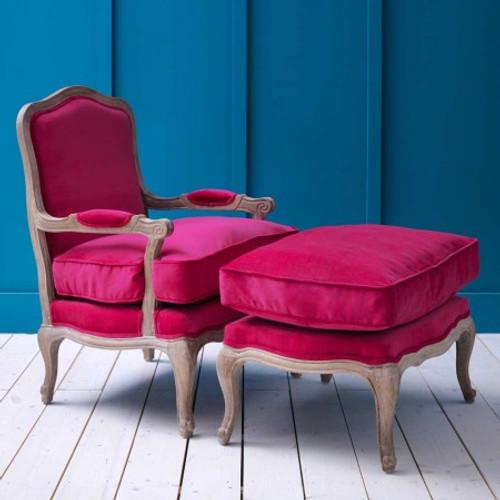 Antoinette Armchair and Footstool in Fuchsia Velvet or Heiringbone