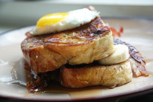 Challah Bread French Toast Bacon & Egg Sandwich - (Free Recipe below)