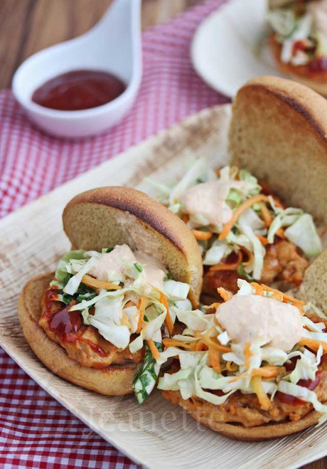 Spicy Korean Chicken Sliders with Asian Slaw and Kimchi Sauce - (Free Recipe below)