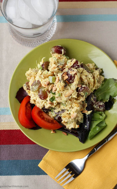Curried Chicken Salad with Grapes and Slivered Almonds - (Free Recipe below)