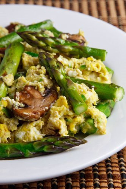 Garlic Scape Pesto Scrambled Eggs with Asparagus and Mushrooms - (Free Recipe below)