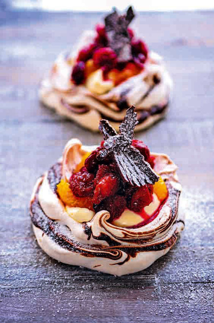 Mini Cranberry, Orange and Chocolate Pavlovas - (Free Recipe below)