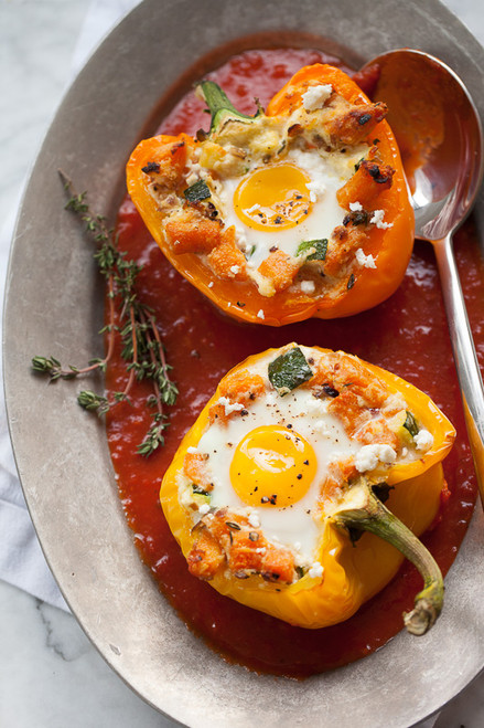 Baked Eggs in Stuffed Peppers with Sweet Potato Hash - (Free Recipe below)