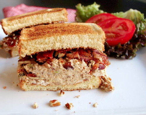 Chicken Salad Sandwich with Bacon & Pecans - (Free Recipe below)