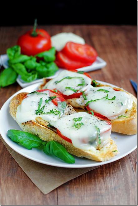 Open Face Chicken Caprese Sandwiches- (Free Recipe below)