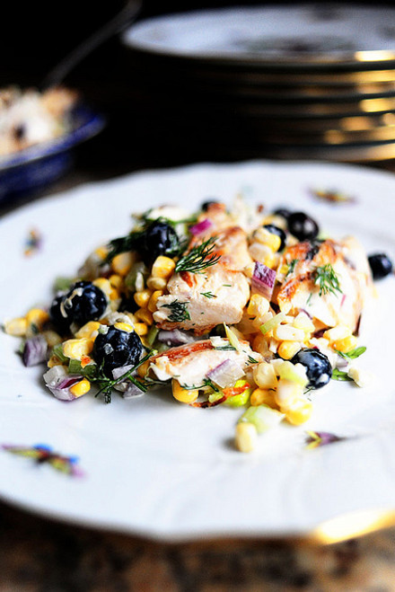 Grilled Chicken Salad with Feta, Fresh Corn, and Blueberries - (Free Recipe below)