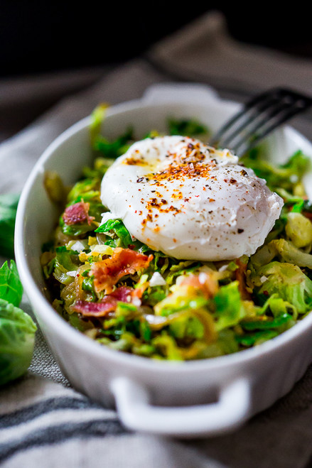 Brussel Sprout hash with Bacon (optional) and Soft Poached Eggs - (Free Recipe below)
