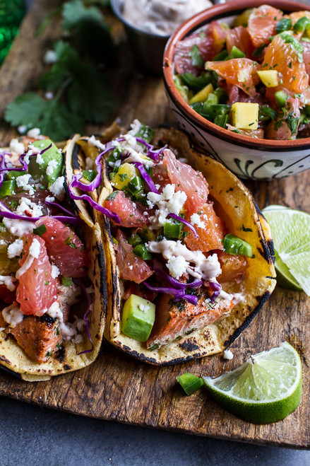 Cuban Fish Tacos with Citrus Mango Slaw + Chipotle Lime Crema - (Free Recipe below)