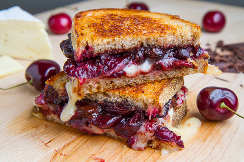 Balsamic Roasted Cherry, Dark Chocolate and Brie Grilled Cheese - (Free Recipe below)