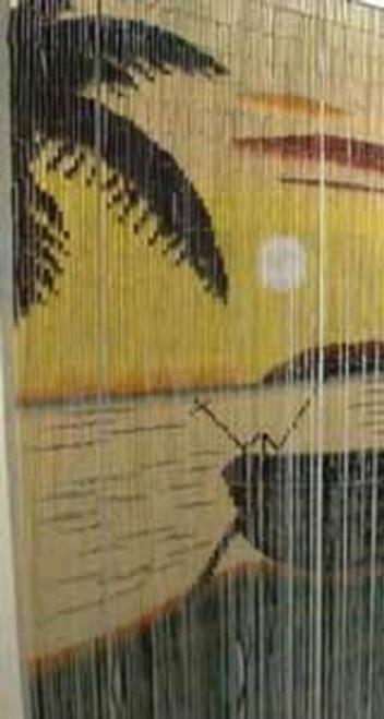 Boat Sunset Beach Bamboo Beaded Curtain