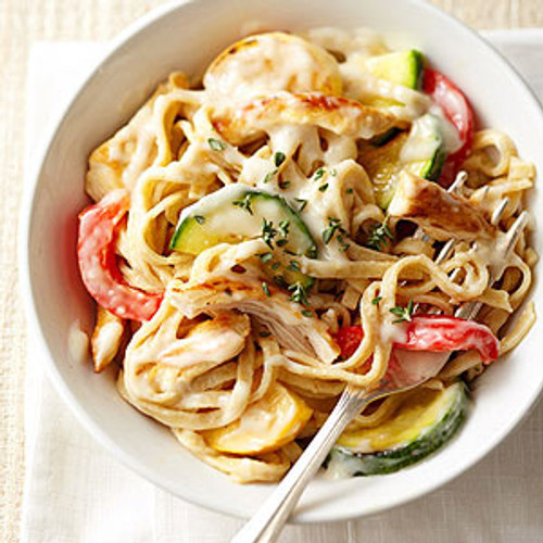 Healthy Chicken Alfredo with Sweet Peppers - (Free Recipe below)