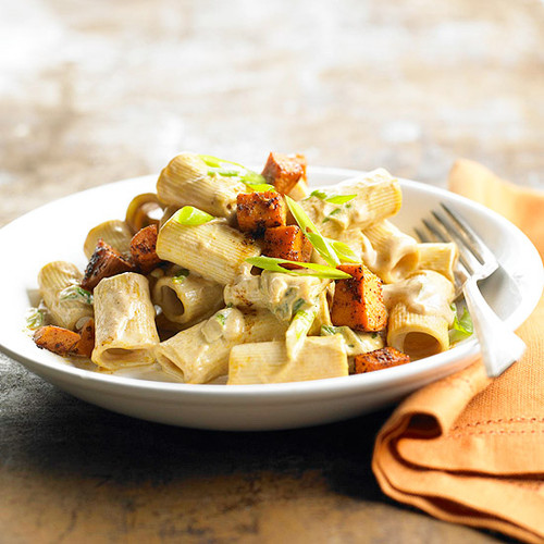 Spicy Pasta with Sweet Potatoes - (Free Recipe below)