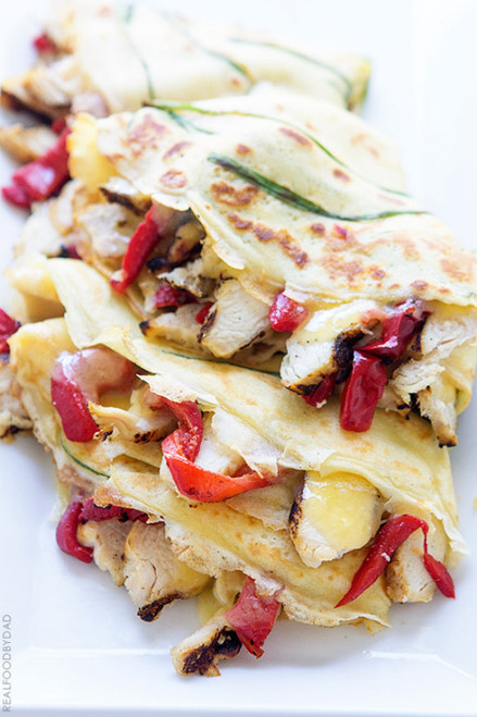 Grilled Chicken and Peppers Crepe Quesadilla - (Free Recipe below)
