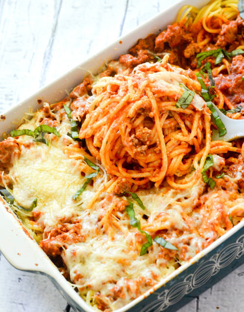BAKED CREAM CHEESE SPAGHETTI CASSEROLE - (Free Recipe below)