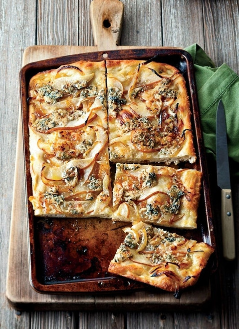 Focaccia with Caramelized Onions, Pear and Blue Cheese - (Free Recipe below)