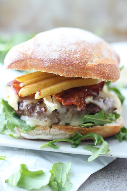 Bison Burgers with Brie, Bacon and Carmelized Pears - (Free Recipe below)