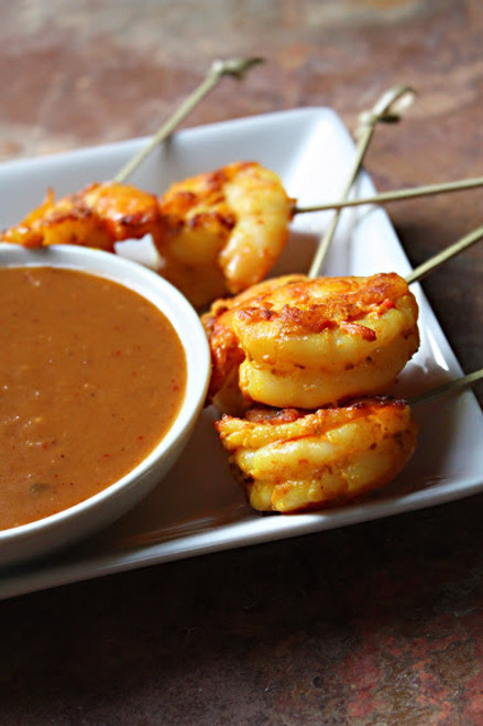 Shrimp Satay w/ Thai Peanut Sauce - (Free Recipe below)