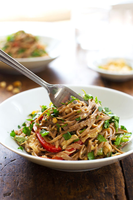 SPICY PEANUT CHICKEN SOBA NOODLE SALAD - (Free Recipe below)