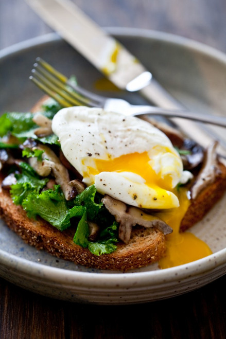 Mushroom & Kale Toast with a Poached Egg - (Free Recipe below)
