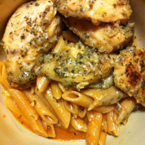 Garlic Pesto Chicken with Tomato Cream Penne - (Free Recipe below)