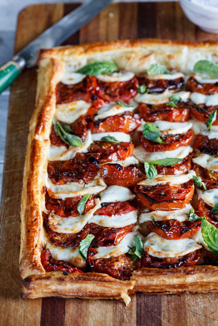 Caprese Tart with Roasted Tomatoes - (Free Recipe below)