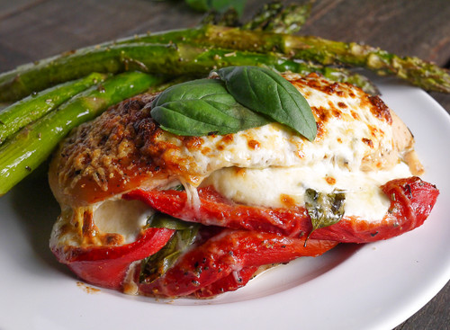 Roasted Red Pepper, Mozzarella and Basil Stuffed Chicken - (Free Recipe below)