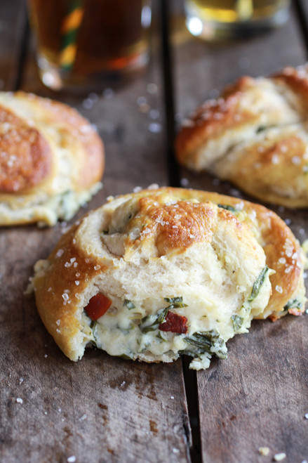 Spinach and Artichoke Stuffed Beer Soft Pretzels - (Free Recipe below)