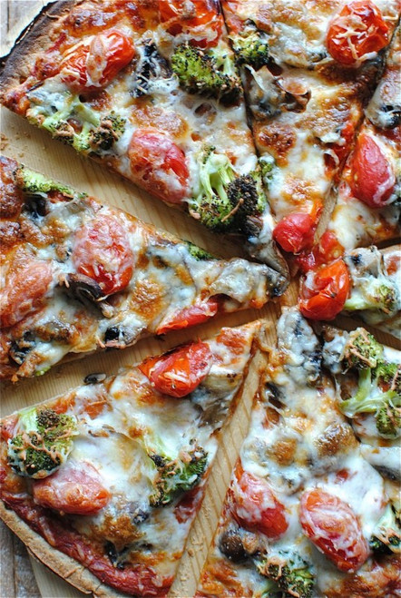 Thin Crust Pizza with Tomatoes, Mushrooms & Broccoli - (Free Recipe below)