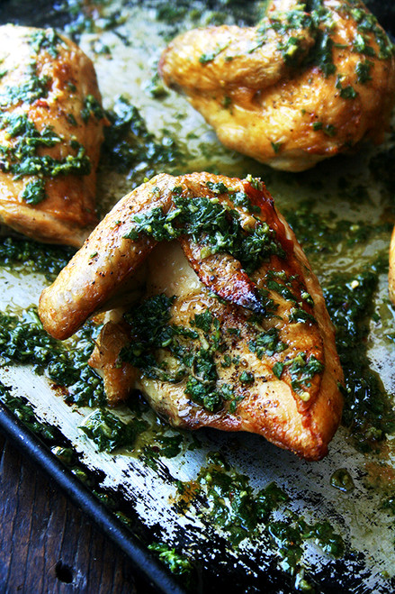 Roasted Quartered Chicken with Herb Sauce - (Free Recipe below)