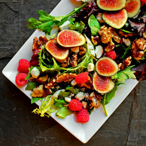 Black Mission Fig & Roasted Rosemary Walnut Salad w/ Lemon Lime Vinaigrette - (Free Recipe below)