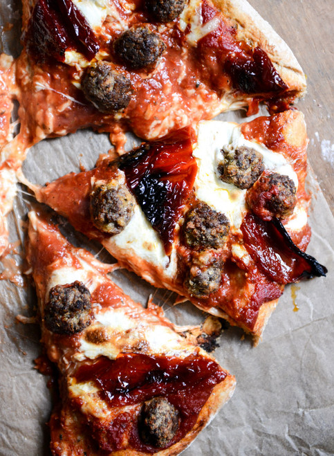 Mini Meatball Pizza with Fresh Mozzarella + Roasted Red Peppers - (Free Recipe below)