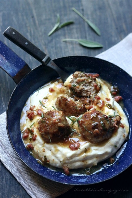Turkey Saltimbocca Meatballs (LC, GF) – (Free Recipe below)