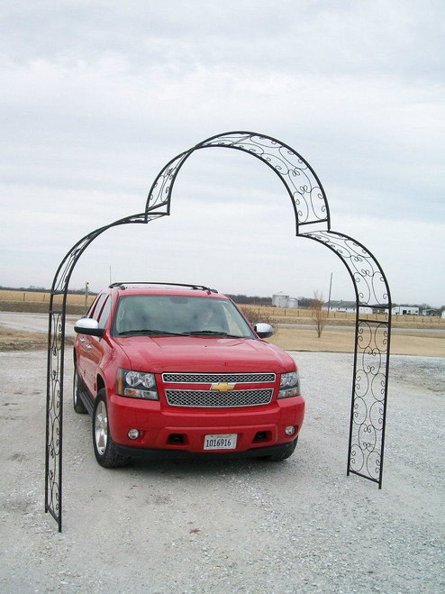 Extra Wide Shell Arch Top Driveway Arbor - multiple colors