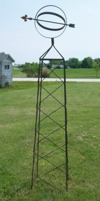 Sun Dial Wrought Iron Obelisk Trellis - many sizes