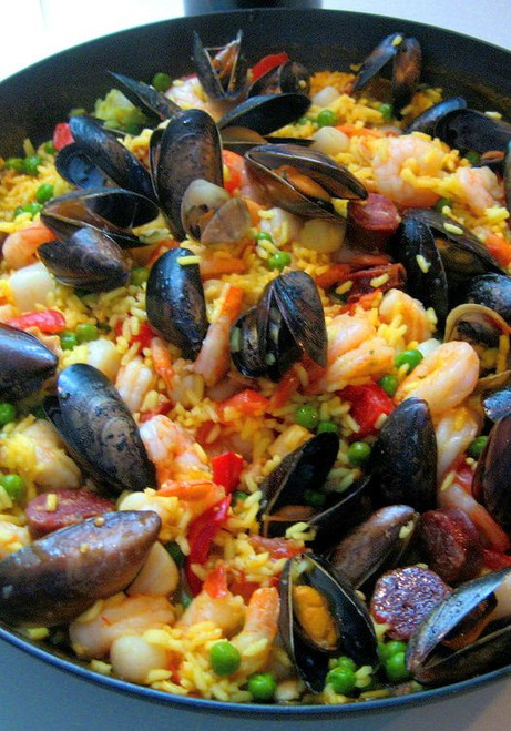 Seafood Paella, traditional Spanish seacoast stew - (Free Recipe below)