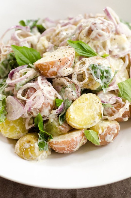 Mixed New Potato Salad with Sweet Basil and Shallots - (Free Recipe below)