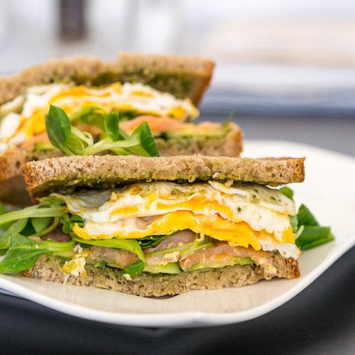 BREAKFAST SANDWICH WITH FRIED EGGS AND SMOKED SALMON - (Free Recipe below)