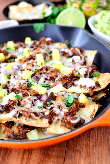 Hawaiian Pulled Pork Skillet Nachos with Pineapple Guacamole - (Free Recipe below)