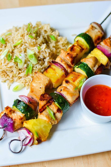 Grilled Chicken & Vegetable Skewers with Asian Flavors - (Free Recipe below)