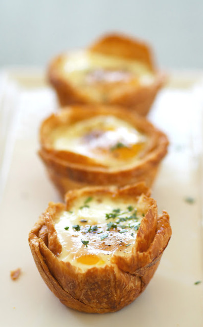 Baked Eggs in Croissant Nests - (Free Recipe below)