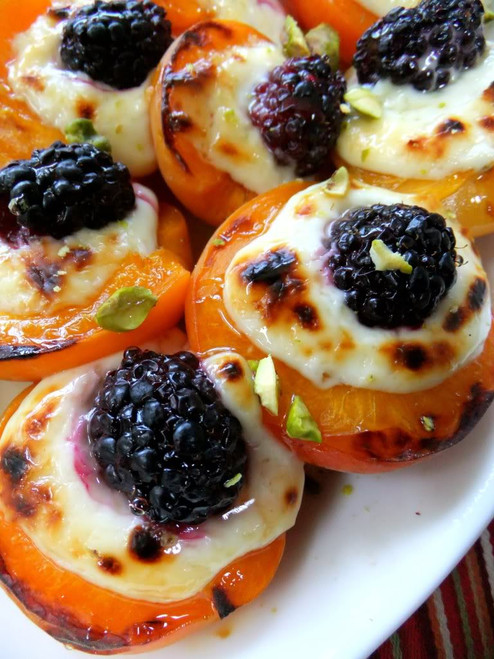 Roasted Apricots w/ Mascarpone & Blackberry Drizzled with Honey - (Free Recipe below)