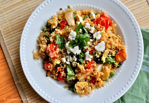 Cous Cous with Roasted Veggies and Feta - (Free Recipe below)