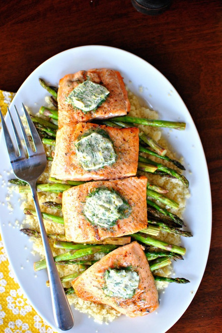 Grilled Salmon with Lemon Dill Butter - (Free Recipe below)