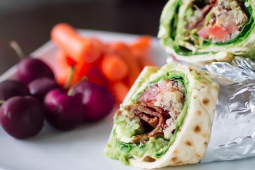 "SPINACH, WHITE BEAN, AVOCADO & QUINOA ""BLT"" WRAPS - (Free Recipe below)"