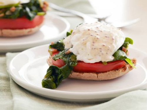 Kale and Tomato Eggs Benedict English Muffin Sandwich - (Free Recipe below)