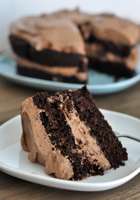 Decadent Chocolate Cake with Whipped Chocolate Frosting (GF) - (Free Recipe below)